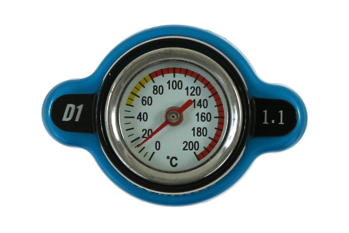 Korek wlewu chłodnicy z termometrem D1Spec 28mm 1.1Bar Blue - GRUBYGARAGE - Sklep Tuningowy